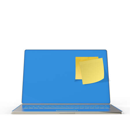Yellow sticky note post on 3d laptop computer as concept Stock Photo - 22852688