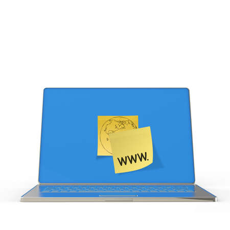 url virtual: www. written on sticky note with computer laptop as concept Stock Photo