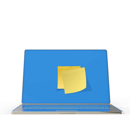 Yellow sticky note post on 3d laptop computer as concept Stock Photo - 22852698