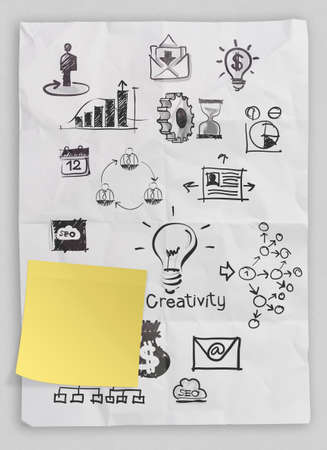 growth opportunity: business concept on crumpled paper and sticky note background