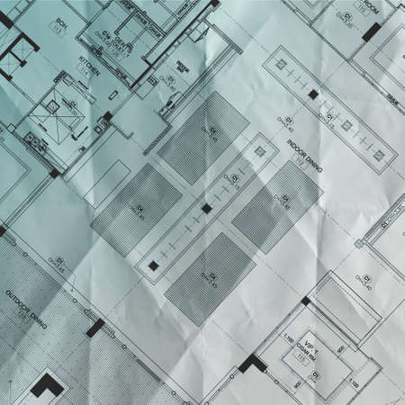 crumpled blue print part of architectural project photo