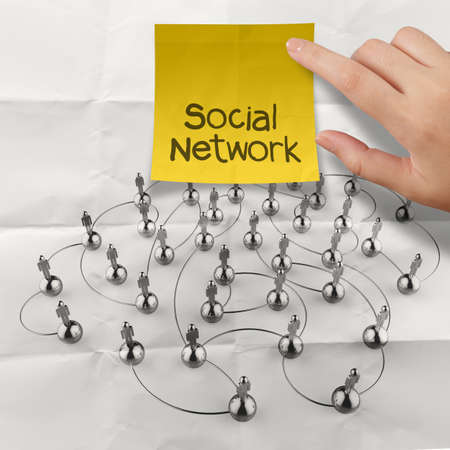 net meeting: hand holding sticky note social network 3d stainless human social network on crumpled paper as concept