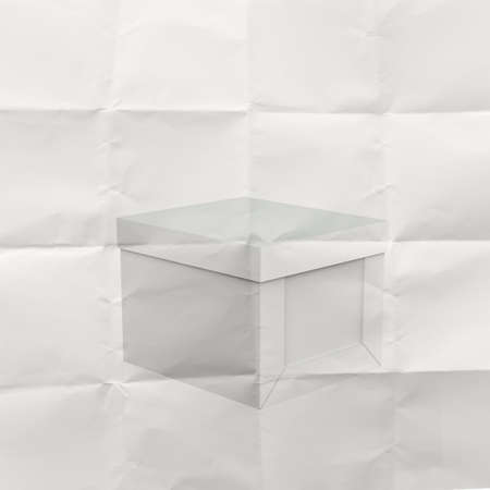 thinking outside the box on crumpled paper as concept photo
