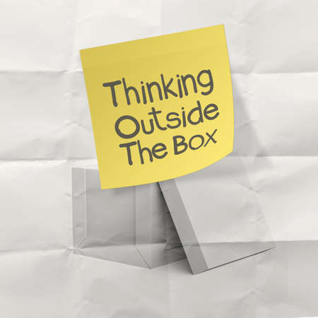 thumbnail: thinking outside the box on crumpled sticky note paper as concept