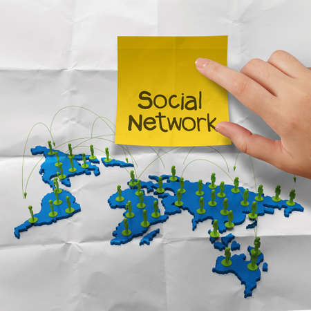 hand holding sticky note social network 3d stainless human social network on crumpled paper as concept photo