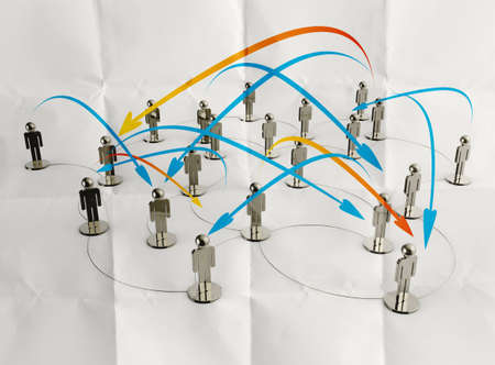 3d stainless human social network and leadership on crumpled paper as concept photo
