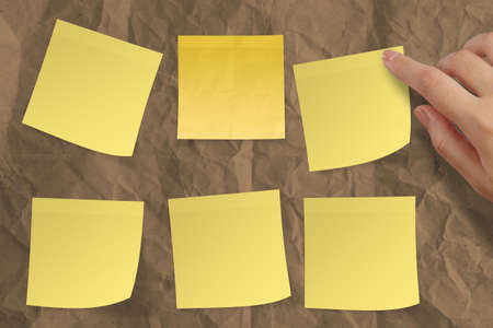 blank crumpled sticky note paper on texture paper as concept Stock Photo - 22852845