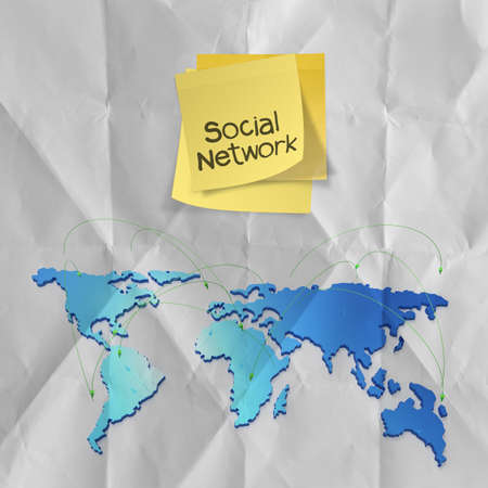 sticky note with crumpled paper as social network structure concept on wrinkled paper  photo