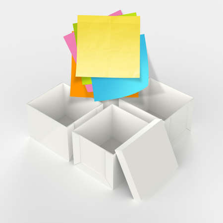 thinking outside the box on crumpled sticky note paper as concept photo