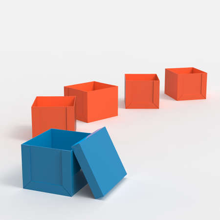 outside the box: 3d open blank box as thinking outside the box concept Stock Photo