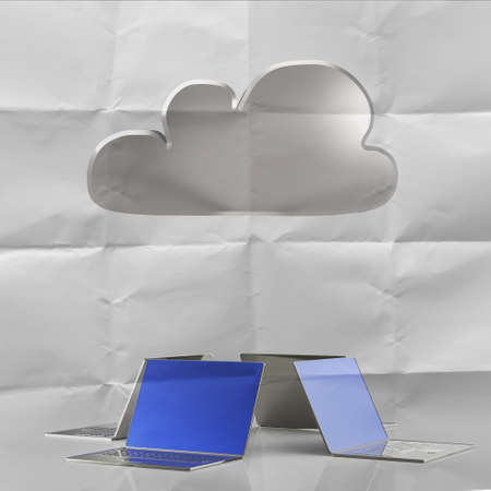 Cloud computing 3d structureon crumpled paper background  as concept photo