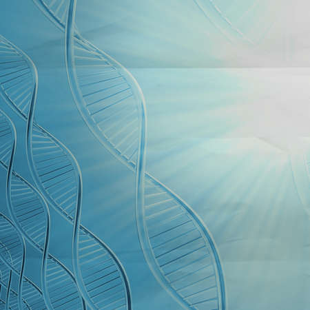 raytrace: a dna in medical colour on crumpled paper background