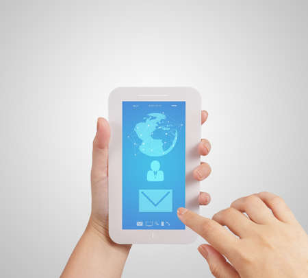 hand use Touch screen mobile phone with email icon as concept photo