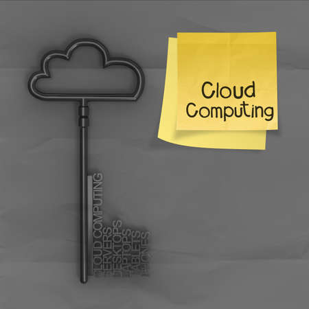 cloud computing on sticky note with crumpled paper as concept  photo