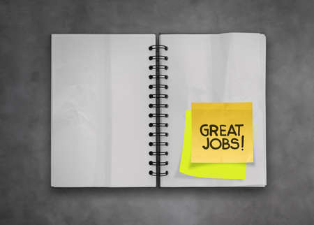 great job word sticky notes with open blank note book on deak top texture Stock Photo - 23401405