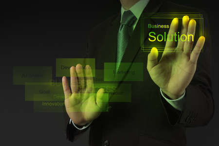 businessman hand working with new modern computer and business solution as concept photo
