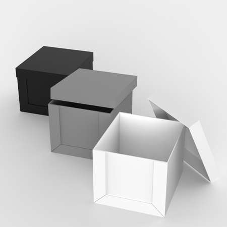 3d open blank box as thinking outside the box concept photo