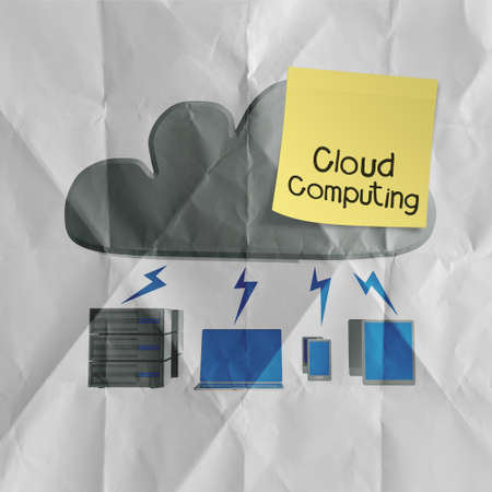remote access: sticky note with Cloud computing word on crumpled paper background  as concept