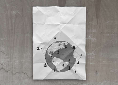 social network icon on crumpled paper background as concept photo