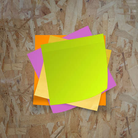 sticky notes on recycle wood desk top as concept photo