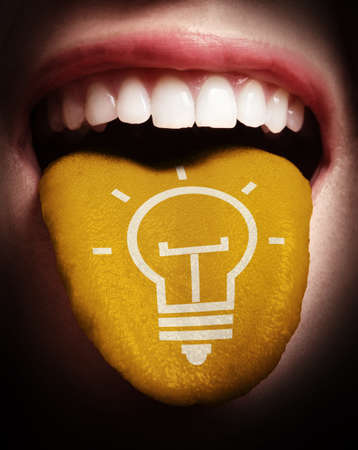 edison: woman with open mouth spreading tongue colored in blue and lightbulb as concept