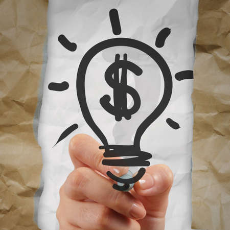 hand drawing light bulb dollar sign with crumpled paper as creative concept Stock Photo - 23401679