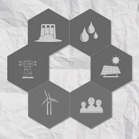 industry icon on hexagon icon tile as concept photo
