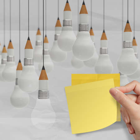 pencil light bulb 3d crumpled paper and recycle tear envelope as creative concept background Stock Photo - 23401734