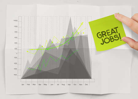 great jobs words sticky note with business strategy crumpled  paper as concept photo
