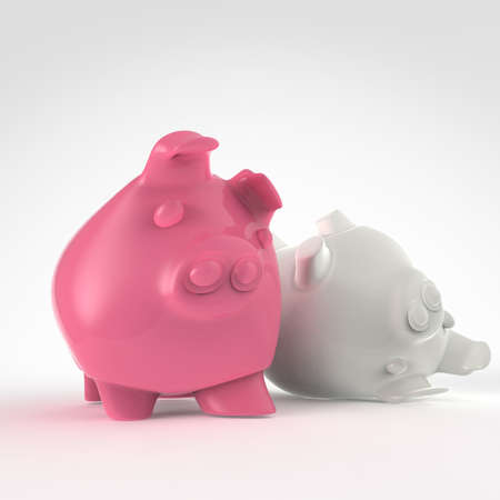 conept: piggy bank 3d standing and another fall as conept