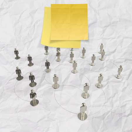 sticky note with human social network and leadership on crumpled paper background as concept photo