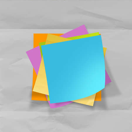 sticky notes on recycle crumpled paper background as concept photo