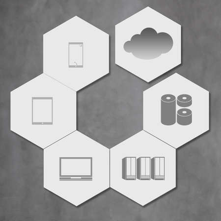cloud networking on hexagon icon tile as concept photo