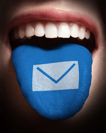 woman open mouth: woman with open mouth spreading tongue colored in email icon as concept