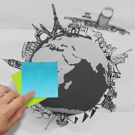 crumpled paper and traveling around the world as vintage style concept Stock Photo - 23401879