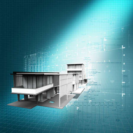 built: new modern architectural 3d  background as concept Stock Photo