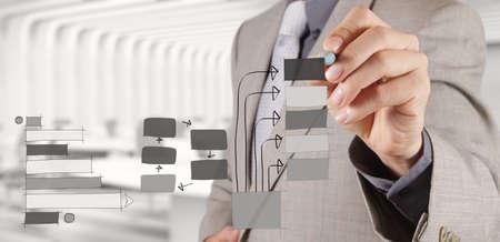 zakenman hand werken met nieuwe moderne computer en bedrijfsstrategie als concept