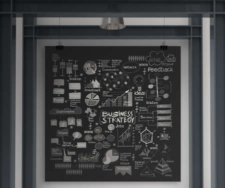 business concept on poster with composition wall with steel frame background photo