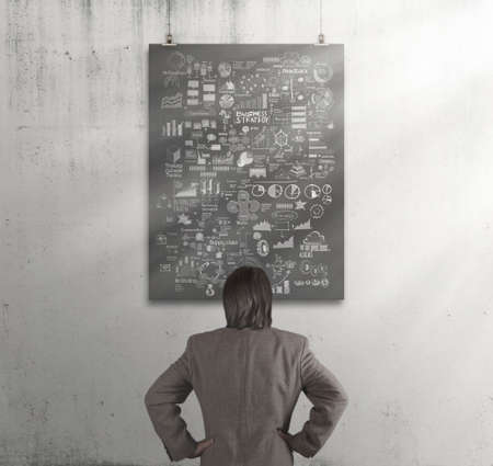 businessman looking business concept on poster with composition wall texture background   photo