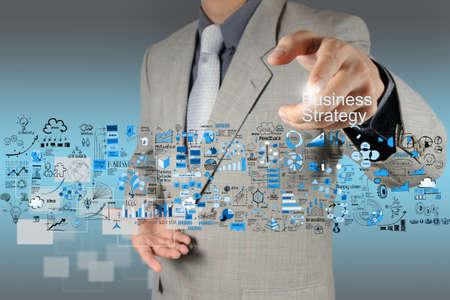 opportunity: businessman hand working with new modern computer and business strategy as concept Stock Photo