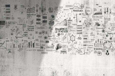hand drawn business concept and strategey on texture wall background as concept photo