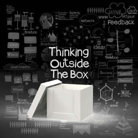 design thinking: think outside the box as creative and leadership concept