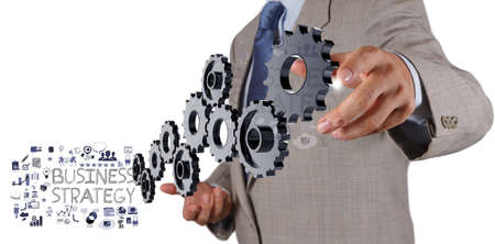 project: businessman hand show gear cogs and  business strategy as concept