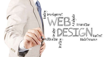 xhtml: business man hand  drawing web design diagram as concept
