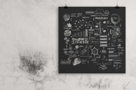 business concept and strategy on texture wall background as concept photo
