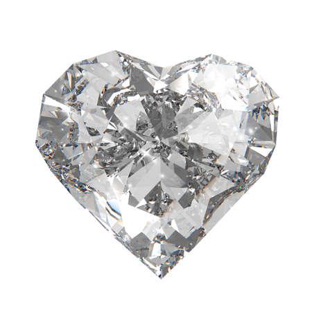 3d diamond heart shape photo