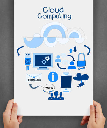 hand holding cloud computing network on  paper background poster as concept photo