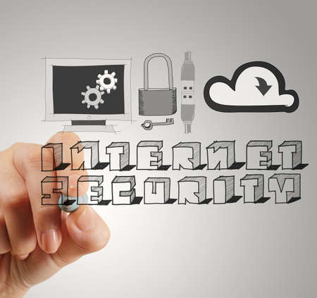 close up of hand drawing Internet security online business as concept  photo