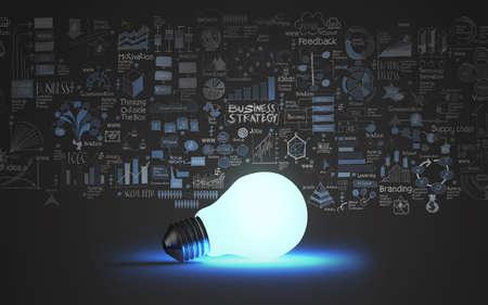 電球の概念としてのビジネス戦略の背景に 3 d 写真素材 - 25264876
