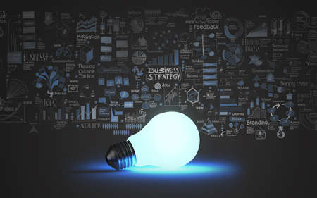 light bulb 3d on business strategy background as concept Stock Photo